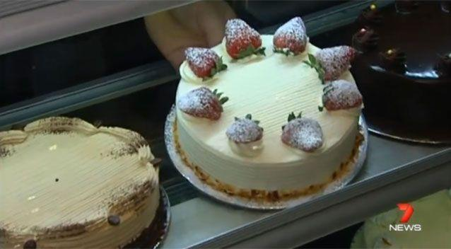 An unlikely weapon - Rainbow Cakes' popular cream strawberry cake. Source: 7 News