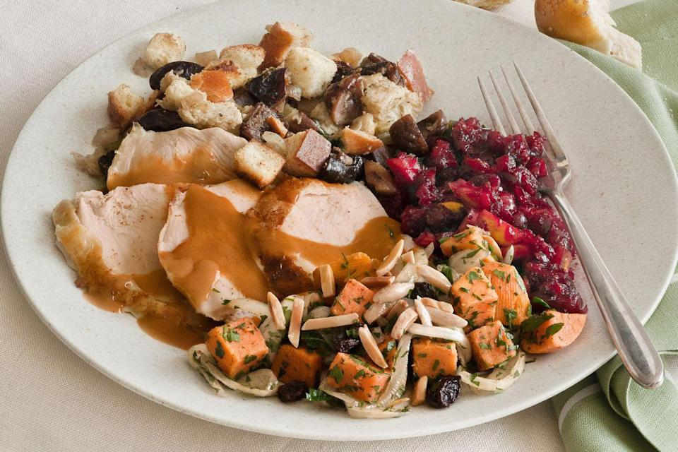 """<p>What is Joan Nathan's favorite part of Thanksgiving? """"I love planning and cooking with my family,"""" says the author of <em><a href=""""http://www.amazon.com/Quiches-Kugels-Couscous-Search-Cooking/dp/0307267598?tag=syn-yahoo-20&ascsubtag=%5Bartid%7C10050.g.637%5Bsrc%7Cyahoo-us"""" rel=""""nofollow noopener"""" target=""""_blank"""" data-ylk=""""slk:Quiches, Kugels, and Couscous: My Search for Jewish Cooking in France"""" class=""""link rapid-noclick-resp"""">Quiches, Kugels, and Couscous: My Search for Jewish Cooking in France</a></em>. </p><p><strong>Main Course:</strong></p><p><a href=""""https://www.countryliving.com/food-drinks/recipes/a3508/brined-roasted-turkey-pan-gravy-recipe-clv1110/"""" rel=""""nofollow noopener"""" target=""""_blank"""" data-ylk=""""slk:Brined and Roasted Turkey with Pan Gravy"""" class=""""link rapid-noclick-resp"""">Brined and Roasted Turkey with Pan Gravy</a></p><p><strong>Side Dishes:</strong></p><p><a href=""""https://www.countryliving.com/food-drinks/recipes/a3498/challah-stuffing-chestnuts-dried-fruit-recipe-clv1110/"""" rel=""""nofollow noopener"""" target=""""_blank"""" data-ylk=""""slk:Challah Stuffing with Chestnuts and Dried Fruit"""" class=""""link rapid-noclick-resp"""">Challah Stuffing with Chestnuts and Dried Fruit</a></p><p><a href=""""https://www.countryliving.com/food-drinks/recipes/a3507/sweet-potato-onion-almond-cassolita-recipe-clv1110/"""" rel=""""nofollow noopener"""" target=""""_blank"""" data-ylk=""""slk:Sweet Potato, Onion, and Almond Cassolita"""" class=""""link rapid-noclick-resp"""">Sweet Potato, Onion, and Almond Cassolita</a></p><p><a href=""""https://www.countryliving.com/food-drinks/recipes/a3505/zesty-orange-cranberry-sauce-recipe-clv1110/"""" rel=""""nofollow noopener"""" target=""""_blank"""" data-ylk=""""slk:Zesty Orange-Cranberry Sauce"""" class=""""link rapid-noclick-resp"""">Zesty Orange-Cranberry Sauce</a></p><p><a href=""""https://www.countryliving.com/food-drinks/recipes/a3509/sweet-fennel-dinner-rolls-recipe-clv1110/"""" rel=""""nofollow noopener"""" target=""""_blank"""" data-ylk=""""slk:Sweet Fennel Rolls"""" class=""""link rapid-noclick-resp"""">Sweet Fennel Rolls</a"""