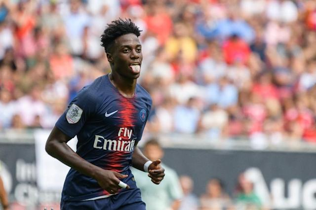 Timothy Weah, son of Liberian president and football legend George, scored his first goal for Paris Saint-Germain against Bayern Munich (AFP Photo/Jure Makovec)