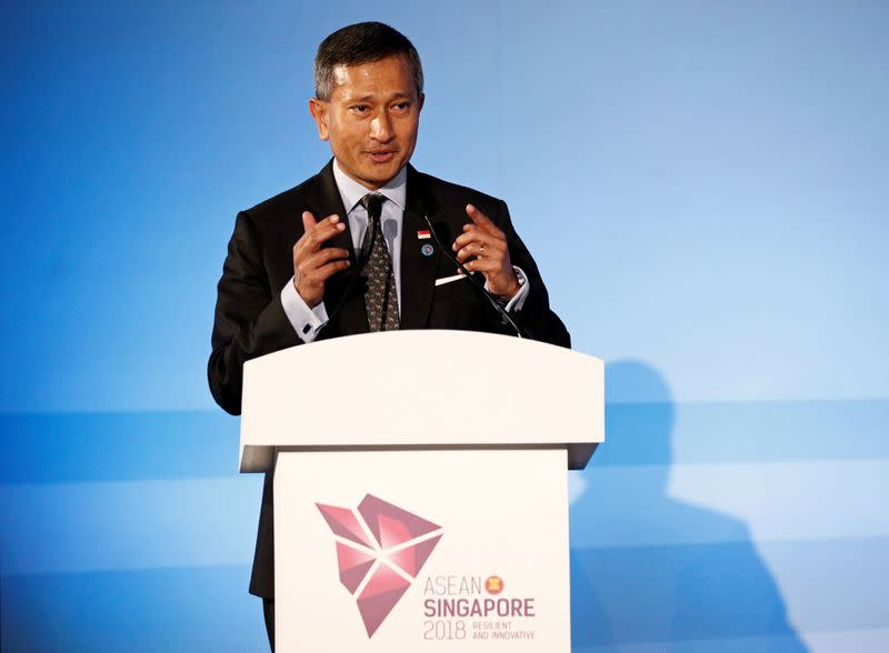 FILE PHOTO: Singapore's Foreign Minister Vivian Balakrishnan gives an address during the opening ceremony of the 51st ASEAN Foreign Ministers' Meeting in Singapore