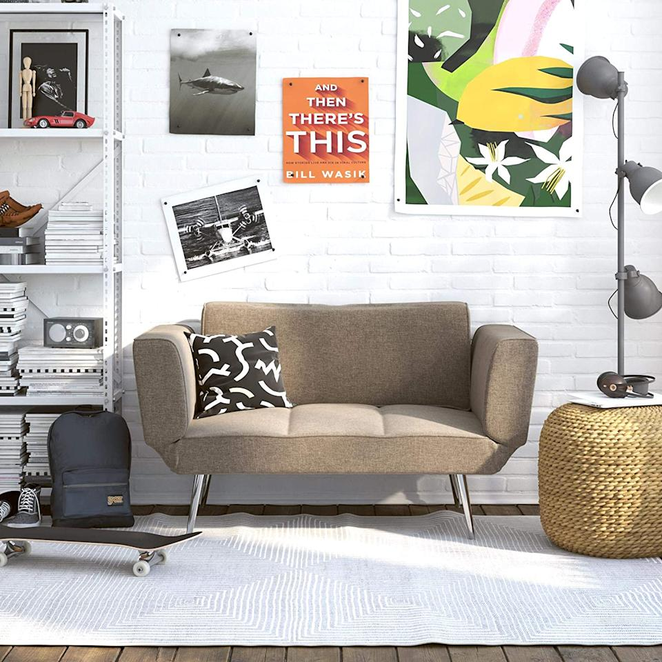 """<h2><a href=""""https://www.amazon.com/Novogratz-Loveseat-Multifunctional-Adjustable-Armrests/dp/B00X1ADKDK"""" rel=""""nofollow noopener"""" target=""""_blank"""" data-ylk=""""slk:Novogratz Leyla Loveseat"""" class=""""link rapid-noclick-resp"""">Novogratz Leyla Loveseat</a></h2><br>If you're short on space, look no further than the Novogratz collections — filled to the brim with space-saving furniture and decor items that look 10x more expensive than they are. <br><br><strong>Novogratz</strong> Novogratz Leyla Loveseat, $, available at <a href=""""https://www.amazon.com/Novogratz-Loveseat-Multifunctional-Adjustable-Armrests/dp/B00X1ADKDK"""" rel=""""nofollow noopener"""" target=""""_blank"""" data-ylk=""""slk:Amazon"""" class=""""link rapid-noclick-resp"""">Amazon</a>"""