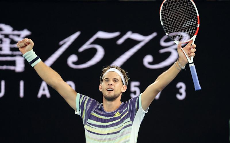 Dominic Thiem is in the Australian Open semi-final for the first time after an epic 6-7, 6-7, 6-4, 6-7 victory - AFP