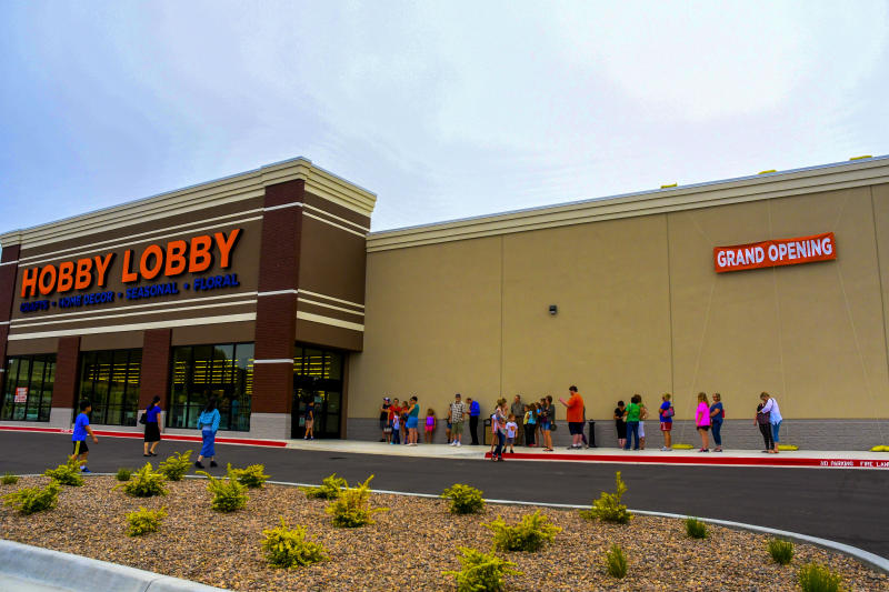A Hobby Lobby grand opening in Emporia, Kansas.   Mark Reinstein—Getty Images