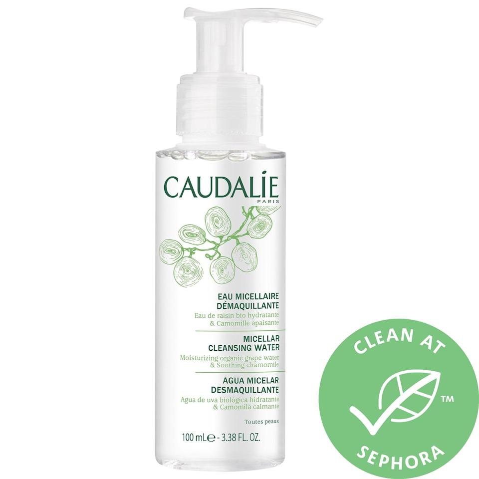 "<p>This soap-free <a href=""https://www.popsugar.com/buy/Caudalie-Micellar-Cleansing-Water-586902?p_name=Caudalie%20Micellar%20Cleansing%20Water&retailer=sephora.com&pid=586902&price=14&evar1=bella%3Aus&evar9=47595992&evar98=https%3A%2F%2Fwww.popsugar.com%2Fphoto-gallery%2F47595992%2Fimage%2F47596004%2FCaudalie-Micellar-Cleansing-Water&list1=sephora%2Ccleanser%2Cbeauty%20shopping%2Cskin%20care&prop13=api&pdata=1"" class=""link rapid-noclick-resp"" rel=""nofollow noopener"" target=""_blank"" data-ylk=""slk:Caudalie Micellar Cleansing Water"">Caudalie Micellar Cleansing Water</a> ($14-$28) handily removes excess sebum, dirt, and makeup, plus features organic grape water, chamomile extract, and plant glycerin to moisturize and calm skin at the same time.</p>"