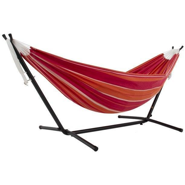"""<h2>Best Hammock With Stand</h2><br><h3>Vivere Double Desert Moon Hammock with 9ft Stand</h3><br><strong>The Hype:</strong> 4.7 out of 5 stars and 335 ratings<br><br><strong>Reviewers say:</strong> """"Purchased this to put in our garden for relaxing. My girlfriend has been wanting a hammock but I didn't want to spend a lot of money...[it's] very easy to put together and it is sturdy. Good quality for the price. We will probably be getting a second one.""""<br><br><em>Shop</em> <strong><em><a href=""""https://www.walmart.com/tp/vivere"""" rel=""""nofollow noopener"""" target=""""_blank"""" data-ylk=""""slk:Vivere"""" class=""""link rapid-noclick-resp"""">Vivere</a></em></strong><br><br><strong>Vivere</strong> Double Desert Moon Hammock with 9ft Stand, $, available at <a href=""""https://go.skimresources.com/?id=30283X879131&url=https%3A%2F%2Fwww.walmart.com%2Fip%2FVivere-Double-Desert-Moon-Hammock-with-9ft-Stand%2F23848089"""" rel=""""nofollow noopener"""" target=""""_blank"""" data-ylk=""""slk:Walmart"""" class=""""link rapid-noclick-resp"""">Walmart</a>"""