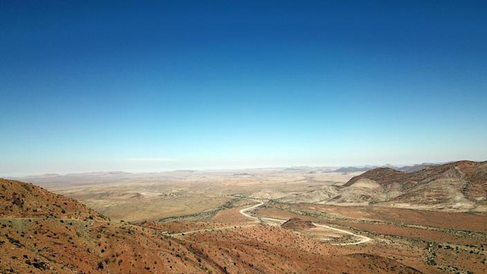 A view of farmlands from the top of Spreetshoogte Pass in central Namibia. (Photo: Gordon Donovan/Yahoo News)