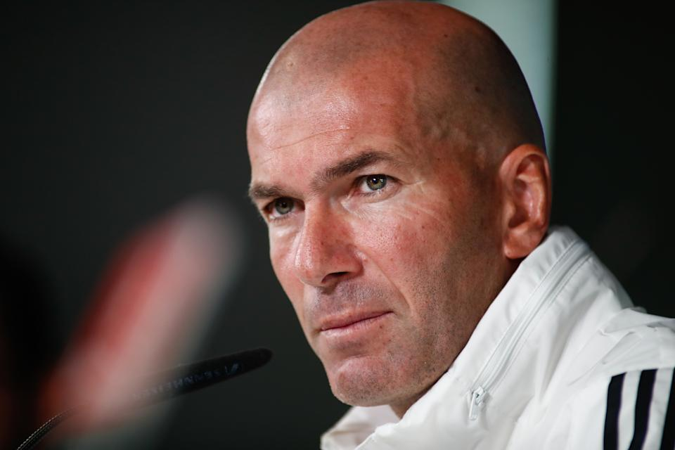 MADRID, SPAIN - OCTOBER 29: The head coach of Real Madrid, Zinedine Zidane from France, attends during a press conference at Ciudad Deportiva Real Madrid on October 29, 2019, in Madrid, Spain. (Photo by Oscar J. Barroso / Europa Press Sports / Europa Press via Getty Images)