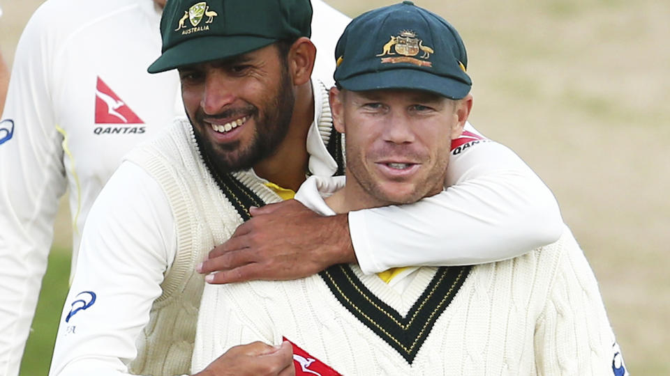 Fawad Ahmed and David Warner, pictured here in action for Australia in a tour match in 2015.