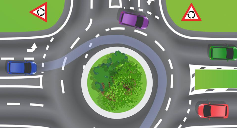 Photo shows a graphic from Queensland main roads of a roundabout.