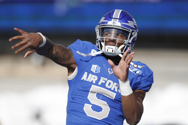 Air Force quarterback Donald Hammond III (5) in the first half of an NCAA college football game Saturday, Nov. 30, 2019, at Air Force Academy, Colo. (AP Photo/David Zalubowski)