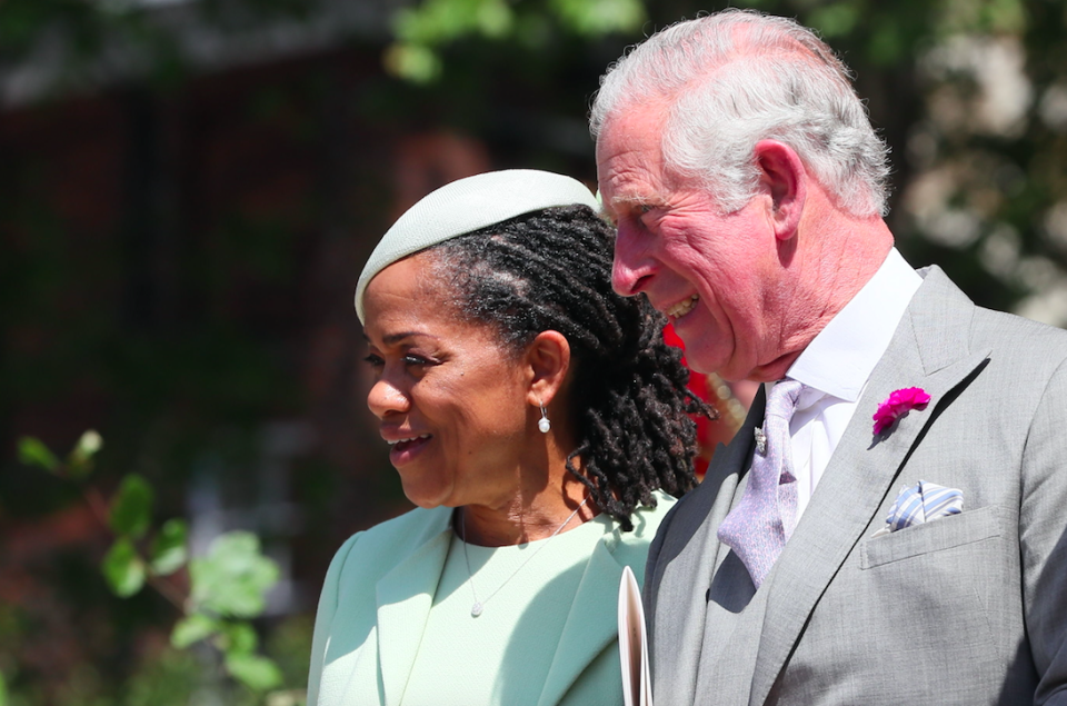 Meghan's mother, Doria Ragland, with Prince Charles at her daughter's wedding (Picture: PA)