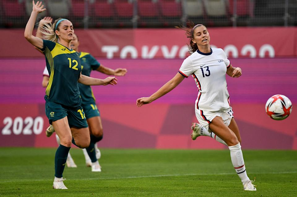 It was one of those days for Alex Morgan (13) and the USWNT, perhaps by design. (Photo by SHINJI AKAGI/AFP via Getty Images)