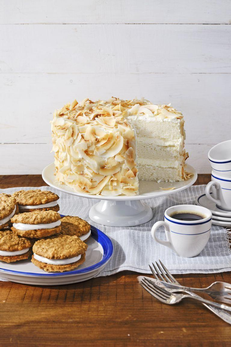"""<p>Keep things light with this airy layer cake, topped with toasted coconut flakes for extra crunch.</p><p><em><a href=""""https://www.countryliving.com/food-drinks/a30418948/coconut-angel-cake-recipe/"""" rel=""""nofollow noopener"""" target=""""_blank"""" data-ylk=""""slk:Get the recipe from Country Living »"""" class=""""link rapid-noclick-resp"""">Get the recipe from Country Living »</a></em></p>"""