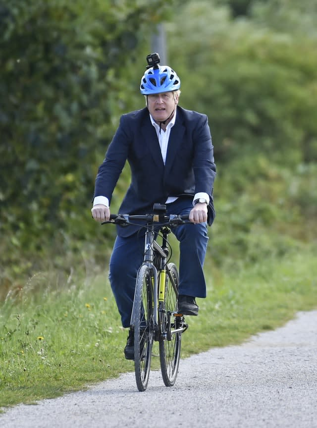 Prime Minister Boris Johnson launched a strategy to get more people cycling (Rui Vieira/PA)