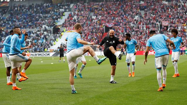 Soccer Football - Europa League Final - Olympique de Marseille vs Atletico Madrid - Groupama Stadium, Lyon, France - May 16, 2018 Marseille players during the warm up before the match REUTERS/John Sibley