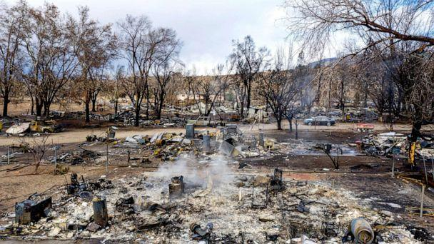 PHOTO: In this photo taken by a drone, residences leveled by the Mountain View Fire line a street in the Walker community in Mono County, Calif.,  Wednesday, Nov. 18, 2020.  (Noah Berger/AP)