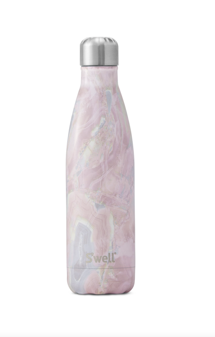 <p>If carrying around a one-gallon bottle is a bit too cumbersome for your liking, try this 25-ounce sleek bottle by S'well. Aside from the stunning selection of patterns, S'well's products are all free of BPA— a toxic chemical often used in the manufacturing process of certain plastics.</p>