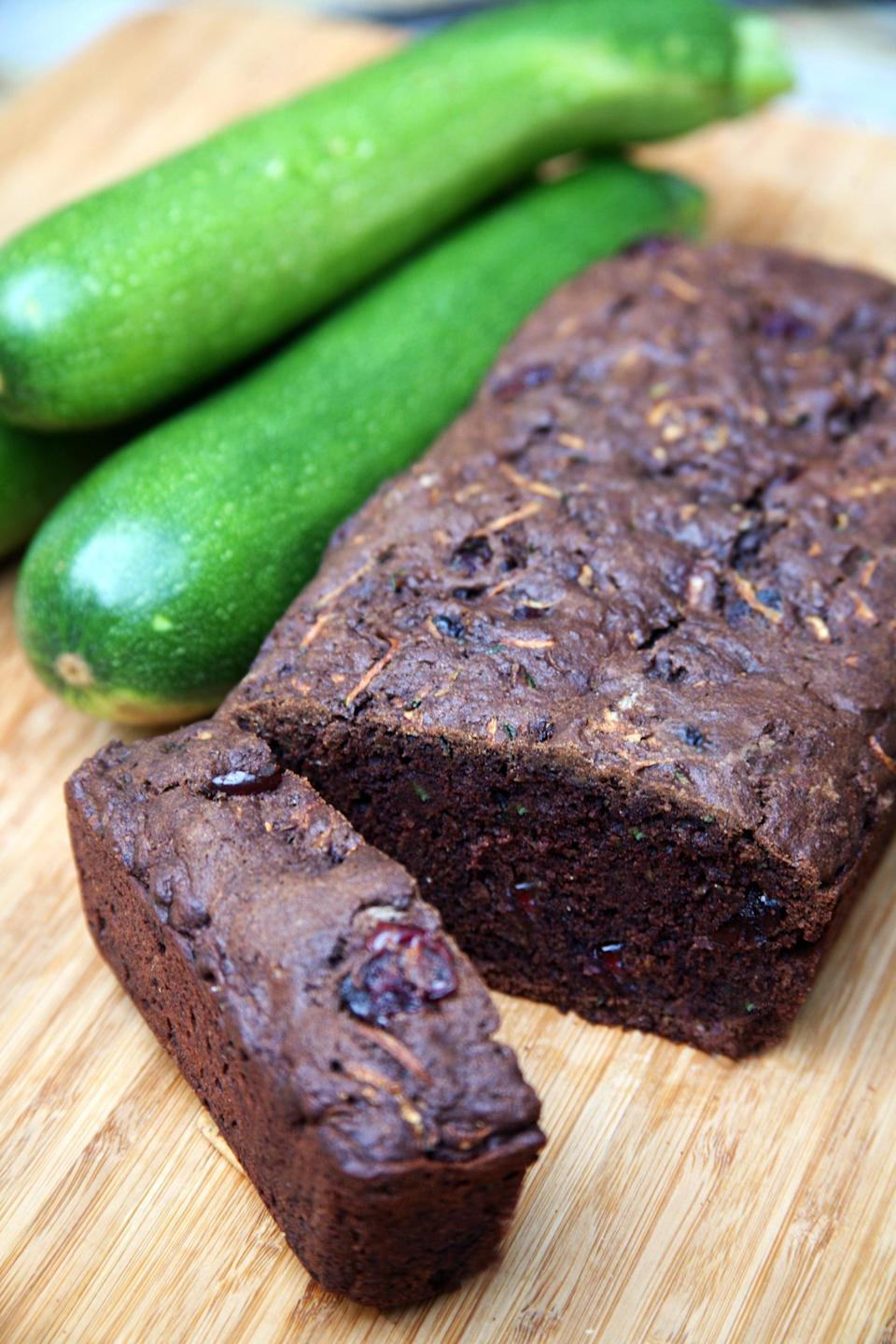 "<p>Try this decadent chocolate twist on the classic zucchini bread recipe - the dried cranberries add such a unique and delicious flavor.</p> <p><strong>Calories:</strong> 260 per slice<br> <strong>Protein:</strong> 3.1 grams</p> <p><strong>Get the recipe:</strong> <a href=""https://www.popsugar.com/fitness/Vegan-Chocolate-Cranberry-Zucchini-Bread-Recipe-18785052"" class=""link rapid-noclick-resp"" rel=""nofollow noopener"" target=""_blank"" data-ylk=""slk:chocolate cranberry zucchini bread"">chocolate cranberry zucchini bread</a></p>"