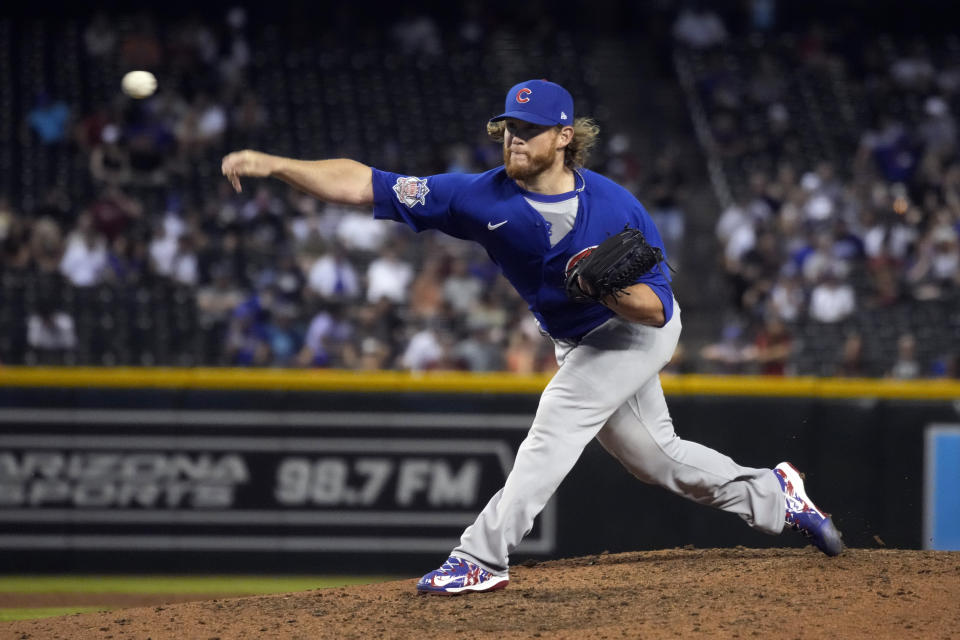 Chicago Cubs relief pitcher Craig Kimbrel throws to an Arizona Diamondbacks batter during the ninth inning of a baseball game Friday, July 16, 2021, in Phoenix. The Cubs won 5-1. (AP Photo/Rick Scuteri)