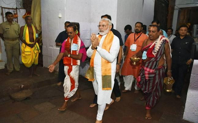 BJP national executive meet: Narendra Modi offers prayers at Lingaraj temple in Bhubaneswar
