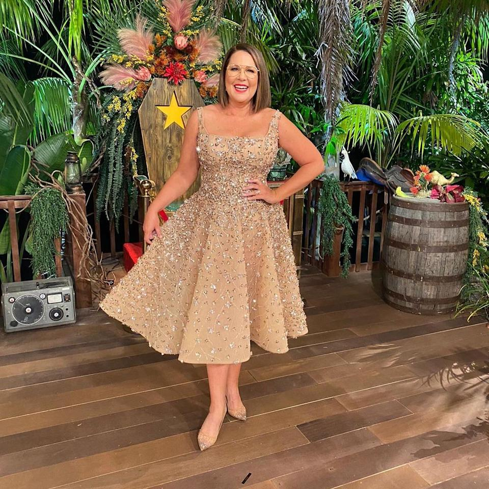 I'm A Celebrity... Get me Out Of Here! co-host Julia Morris wearing a nude, bejewelled dress on set of the 2021 season in Australia