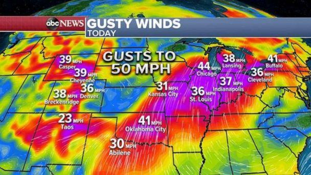 PHOTO: Locally, some wind gusts could reach near 50 mph. With dry conditions and dead vegetation from an earlier freeze, any fire that starts could spread very quickly. (ABC News)