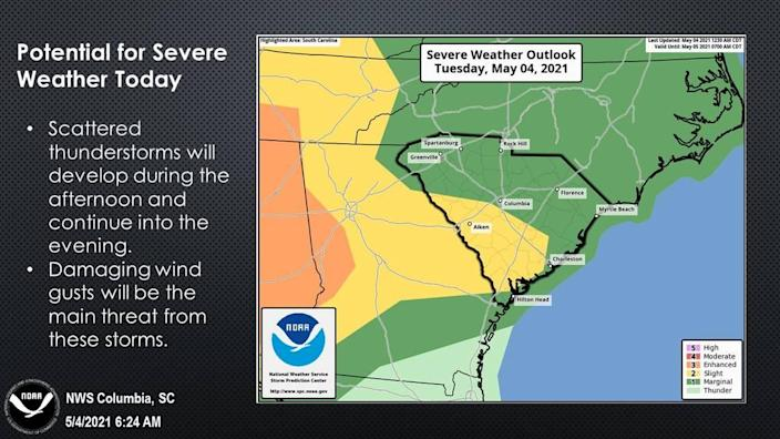 Severe weather is in the forecast for the Midlands, according to the National Weather Service.