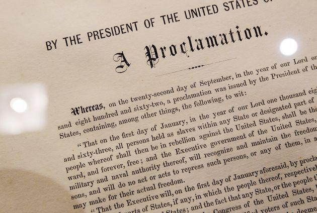 A detail of the Emancipation Proclamation owned by American statesman and politician Robert Kennedy is seen at Sotheby's auction house Dec. 3, 2010, in New York City. The document, one of only 25 copies in existence of Abraham Lincoln's historic edict that freed enslaved people in America, is estimated to be worth more than $1 million. (Photo: Chris Hondros via Getty Images)