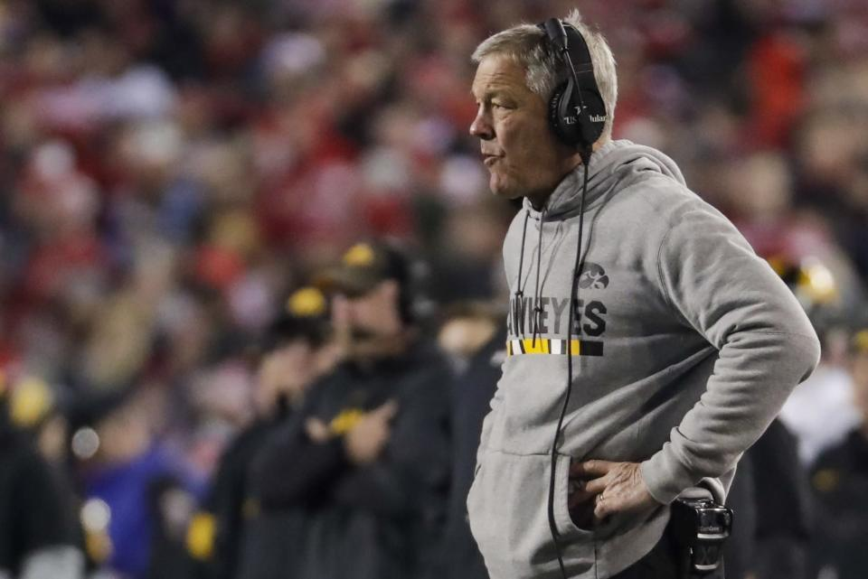 Iowa head coach Kirk Ferentz watches during the second half of an NCAA college football game against Wisconsin Saturday, Nov. 9, 2019, in Madison, Wis. Wisconsin won 24-22. (AP Photo/Morry Gash)