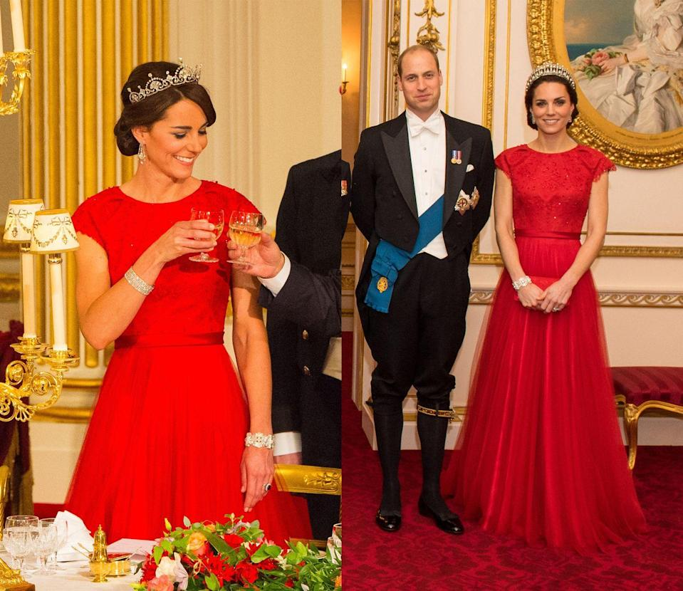 <p>The Duchess of Cambridge stunned in a scarlet Jenny Packham gown for a state banquet with Chinese President Xi Jinping in October 2015. She then wore the vivid red formal gown for the annual reception for members of the Diplomatic Corps at Buckingham Palace in December 2016. </p>
