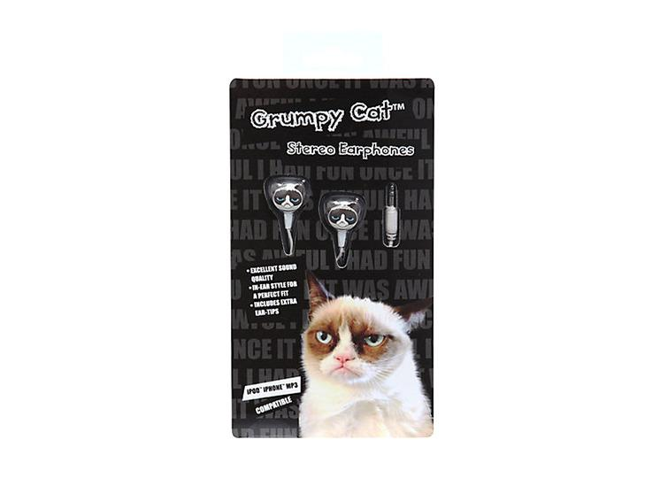 "<p>Pump up the jamz, Grumpy Cat style. (<a href=""http://www.hottopic.com/hottopic/Grumpy+Cat+Earbuds-10040321.jsp"">$3.98 on Hot Topic</a>)</p>"