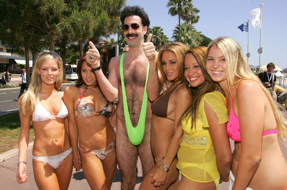 "Sacha Baron Cohen as ""Borat"" during 2006 Cannes Film Festival - Borat Arrives in Cannes at Cannes Beach in Cannes, France. (Photo by John Shearer/WireImage)"