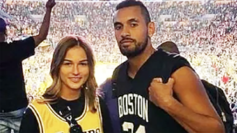 Anna Kalinskaya and Nick Kyrgios, pictured here at an NBA game.