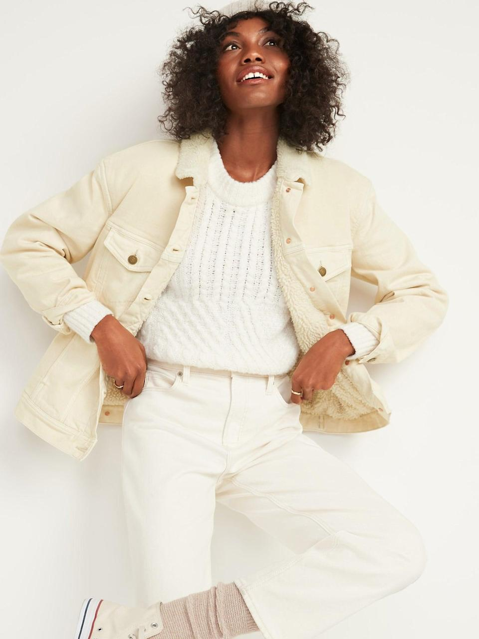 <p>This <span>Oversized Sherpa-Lined Boyfriend Off-White Jean Jacket</span> ($35, originally $55) packs effortless style.</p>