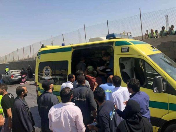 PHOTO: An ambulance is seen at the site of a blast near a new museum being built close to the Giza pyramids in Cairo, May 19, 2019. (Social Media via Reuters)