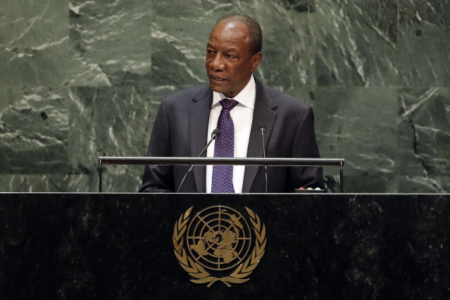 Guinea's President Alpha Conde addresses the 74th session of the United Nations General Assembly, Wednesday, Sept. 25, 2019. (AP Photo/Richard Drew)
