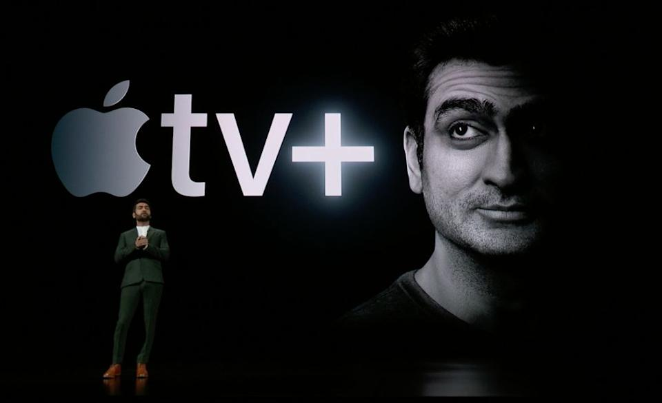 Kumail Nanjiani takes the stage at Apple's big March 25th event to debut the company's new Apple TV Plus streaming service. (image: Apple)