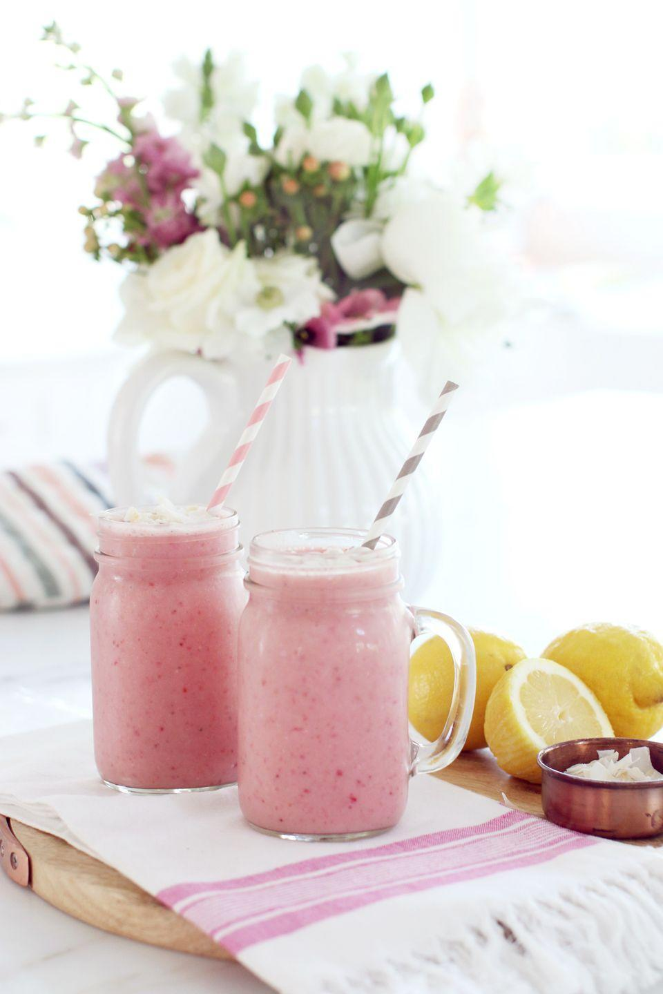 """<p>This summery smoothie features both lemon zest *and* lemon, for that extra citrus flavor. </p><p><a class=""""link rapid-noclick-resp"""" href=""""https://www.monikahibbs.com/best-strawberry-smoothie/"""" rel=""""nofollow noopener"""" target=""""_blank"""" data-ylk=""""slk:Get the recipe"""">Get the recipe</a></p>"""