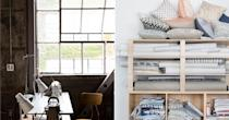 """<p>Whether you're a professional designer looking for organization and decorating ideas, or you just got your first sewing machine yesterday, these sewing room ideas will help you <a href=""""https://www.housebeautiful.com/room-decorating/home-library-office/g1025/office-decorating-ideas/"""" rel=""""nofollow noopener"""" target=""""_blank"""" data-ylk=""""slk:create a space"""" class=""""link rapid-noclick-resp"""">create a space</a> that boosts your productivity and stimulates creativity. In fact, you'll probably want to keep these in mind if you're a creative of any kind—like a crafter, scrapbooker, or artist—who works from a home studio. From wall display examples to storage hacks, check out these sewing room ideas and <a href=""""https://www.housebeautiful.com/room-decorating/home-library-office/g26043176/craft-room-ideas/"""" rel=""""nofollow noopener"""" target=""""_blank"""" data-ylk=""""slk:style tips"""" class=""""link rapid-noclick-resp"""">style tips</a> for non-stop inspiration while you work. </p>"""