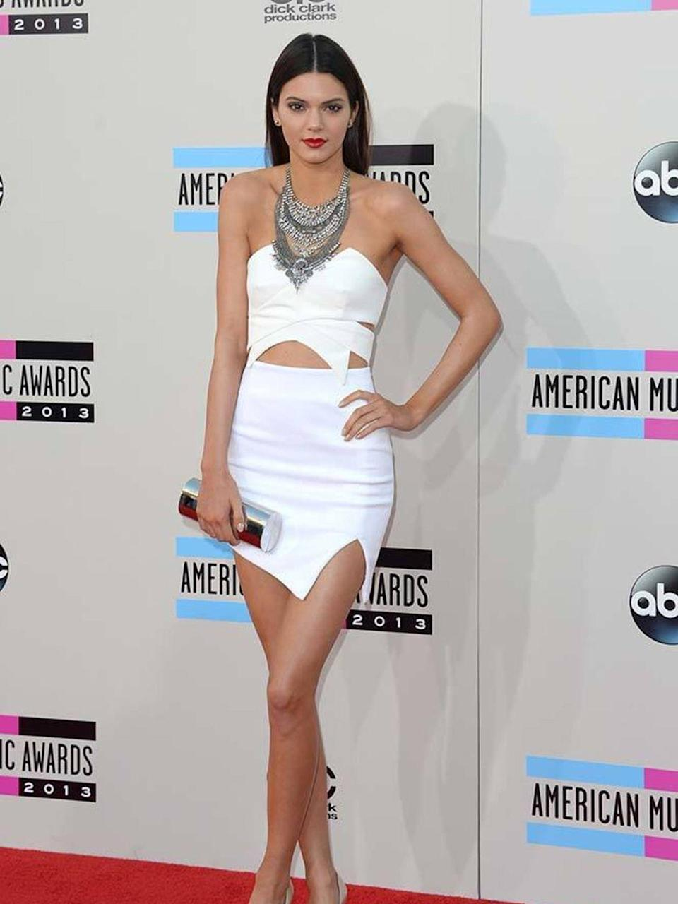 <p>In a Keepsake top and skirt, Manolo Blahnik shoes and a Dylanex necklace at the 2013 American Music Awards</p>