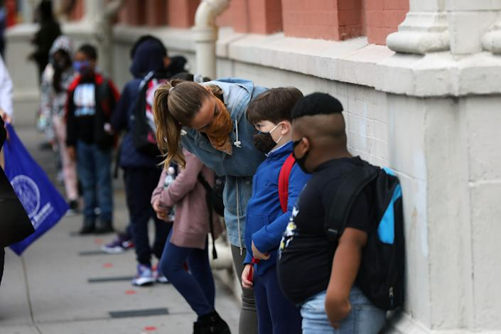 Elementary school students were welcomed back to P.S. 188 as the city's public schools opened for in-person learning on Sept. 29. (Spencer Platt/Getty Images)