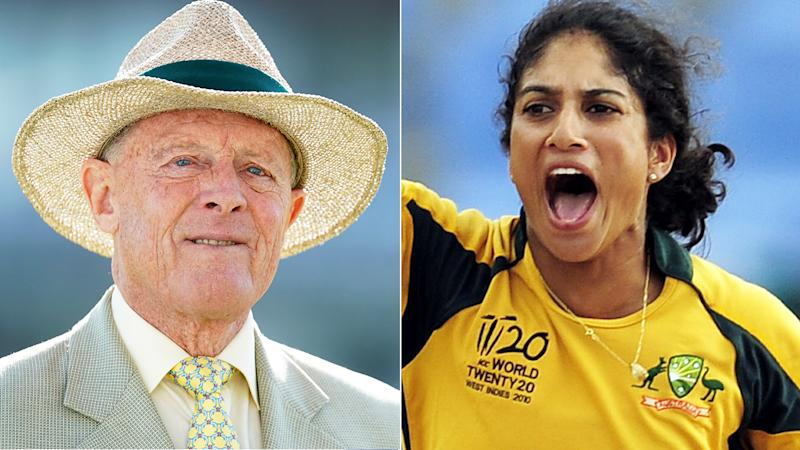 A 50-50 split image shows Geoffrey Boycott on the left and former Australian cricket captain Lisa Sthalekar on the right.