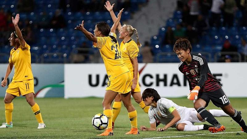 Matildas awarded a penalty but coud not find the back of the net from the spot kick. Pic: Getty
