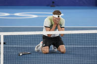 during the men's single gold medal match of the tennis competition at the 2020 Summer Olympics, Sunday, Aug. 1, 2021, in Tokyo, Japan. (AP Photo/Patrick Semansky)