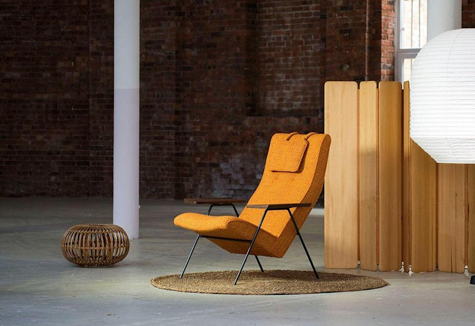 """<p>Relaunched in 2011, design brand Twentytwentyone worked closely with Robin Day (1915-2010) to put his 1950 'Reclining Chair' for Hille back into production. This anniversary edition, which marks the retailer's 25th year, is upholstered in a rich textured weave specially created by Mourne Textiles, a frequent collaborator with the Days throughout their careers. The mahogany armrests of the original have been substituted for American walnut. £2,450, <a href=""""https://www.twentytwentyone.com/"""" rel=""""nofollow noopener"""" target=""""_blank"""" data-ylk=""""slk:twentytwentyone.com"""" class=""""link rapid-noclick-resp"""">twentytwentyone.com</a></p>"""