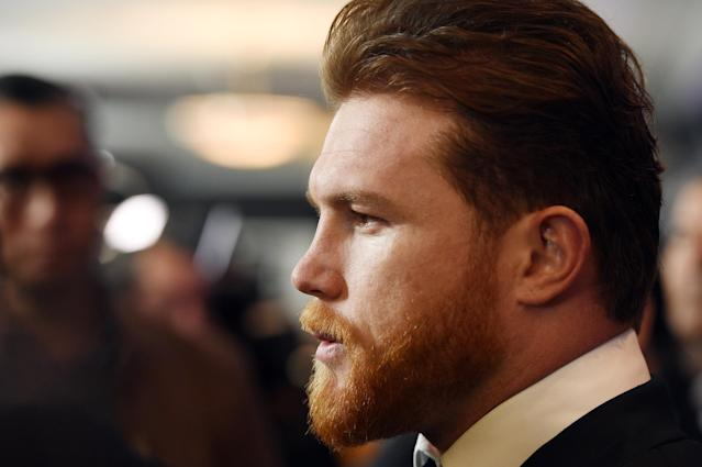 Canelo Alvarez poses during a news conference on Feb. 27, 2018 in Los Angeles to announce the upcoming rematch against Gennady Golovkin. (Getty)