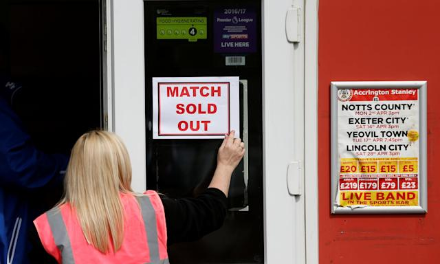 "Soccer Football - League Two - Accrington Stanley v Lincoln City - Wham Stadium, Accrington, Britain - April 28, 2018 A sold out sign is placed outside the ticket office Action Images/Andrew Boyers EDITORIAL USE ONLY. No use with unauthorized audio, video, data, fixture lists, club/league logos or ""live"" services. Online in-match use limited to 75 images, no video emulation. No use in betting, games or single club/league/player publications. Please contact your account representative for further details."
