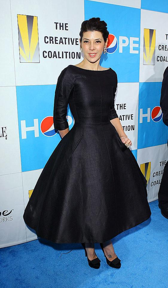 """The silhouette of Marisa Tomei's gown was as classic as they come. Pockets and 3/4-length sleeves added a stylish touch. Michael Tran/<a href=""""http://www.filmmagic.com/"""" target=""""new"""">FilmMagic.com</a> - January 20, 2009"""