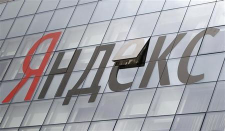 The company logo is seen on the headquarters building of Yandex company, in Moscow