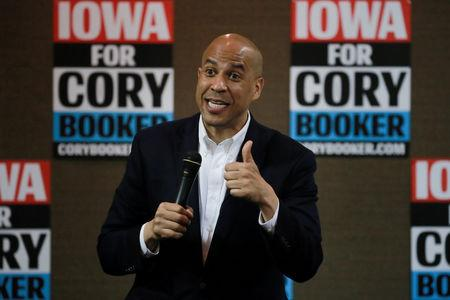 FILE PHOTO: 2020 Democratic presidential candidate Cory Booker speaks during a town hall meeting in Carroll, Iowa, U.S., April 16, 2019.  REUTERS/Elijah Nouvelage/Files